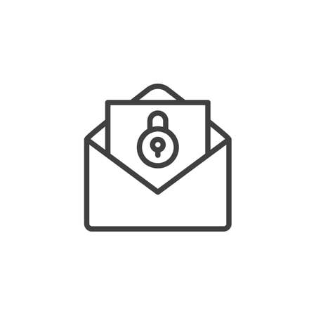 Blocked envelope message line icon. linear style sign for mobile concept and web design. Email document with lock outline vector icon. Symbol, logo illustration. Vector graphics
