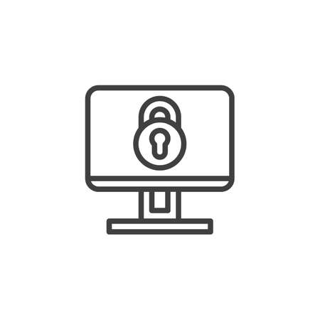 Computer security line icon. linear style sign for mobile concept and web design. Data protection outline vector icon. Symbol, logo illustration. Vector graphics Illustration
