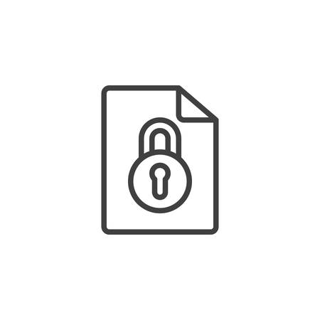 Locked document file line icon. linear style sign for mobile concept and web design. File with security lock outline vector icon. Symbol, logo illustration. Vector graphics