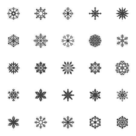 Snowflake vector icons set, modern solid symbol collection, filled style pictogram pack. Signs, logo illustration. Set includes icons as winter snow flake shape, xmas snowflake ornate, star decoration Çizim