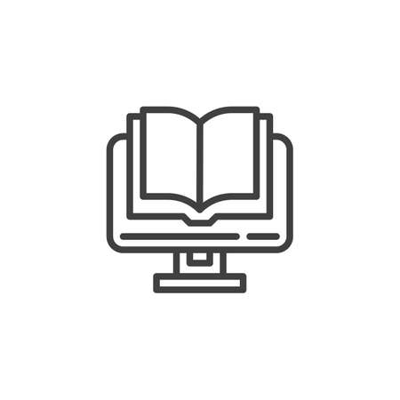 e-book reading line icon. E-learning linear style sign for mobile concept and web design. Computer with a book outline vector icon. Symbol, logo illustration. Vector graphics