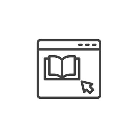 Bookstore website line icon. E-learning with ebook linear style sign for mobile concept and web design. Online reading outline vector icon. Symbol, logo illustration. Vector graphics Çizim