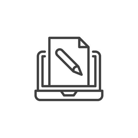Online education line icon. linear style sign for mobile concept and web design. Laptop with document file edit outline vector icon. Symbol, logo illustration. Vector graphics Çizim