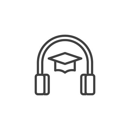 Headphones with graduation cap line icon. Audio course linear style sign for mobile concept and web design. E-learning outline vector icon. Symbol, logo illustration. Vector graphics