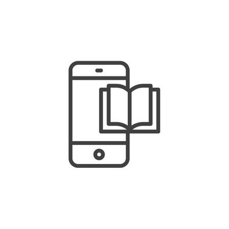 Mobile learning line icon. Smartphone with book linear style sign for mobile concept and web design. Mobile phone with ebook outline vector icon. Symbol, logo illustration. Vector graphics