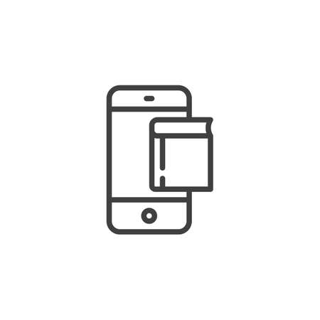 Mobile phone with book line icon. linear style sign for mobile concept and web design. Mobile learning outline vector icon. Symbol, logo illustration. Vector graphics