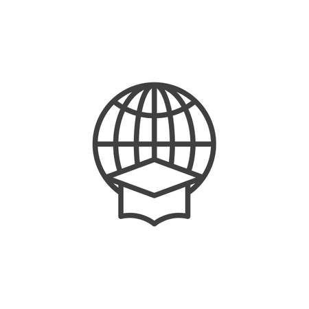 World Education line icon. linear style sign for mobile concept and web design. Globe with Graduation cap outline vector icon. Symbol, logo illustration. Vector graphics