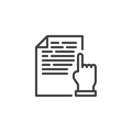 Document reading line icon. linear style sign for mobile concept and web design. Hand with document file outline vector icon. Symbol, logo illustration. Vector graphics