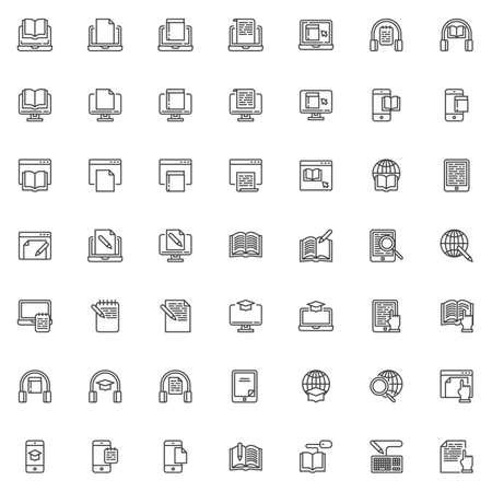 Zestaw ikon linii e-learningu. kolekcja symboli w stylu liniowym, opakowanie znaków konspektu. Grafika wektorowa. Zestaw zawiera ikony, takie jak księgarnia internetowa, czytnik e-booków, edukacja, czytanie książki, pisanie dokumentu, kula ziemska