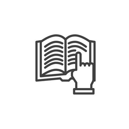 Reading book line icon. linear style sign for mobile concept and web design. Finger pointing to book outline vector icon. Symbol, logo illustration. Vector graphics