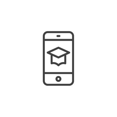 Online education line icon. Smartphone with graduation cap linear style sign for mobile concept and web design. Mobile learning outline vector icon. Symbol, logo illustration. Vector graphics