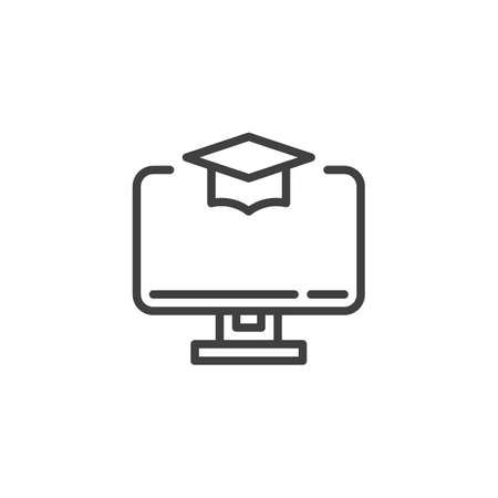 Online education line icon. E-learning linear style sign for mobile concept and web design. Computer with academic cap outline vector icon. Symbol, logo illustration. Vector graphics 일러스트