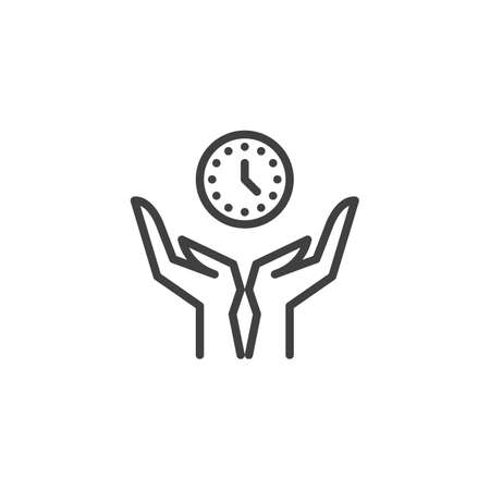 Time management line icon. Hands with clock linear style sign for mobile concept and web design. Safe time outline vector icon. Symbol, logo illustration. Vector graphics Ilustrace