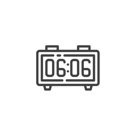 Alarm Radio Clock line icon. linear style sign for mobile concept and web design. Digital alarm clock time outline vector icon. Symbol, logo illustration. Vector graphics