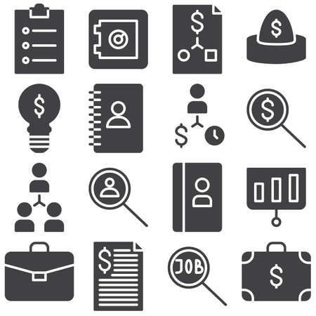 Business vector icons set, modern solid symbol collection, filled style pictogram pack. Signs, logo illustration. Set includes icons as bank deposit, safe box, money case, portfolio, contact book