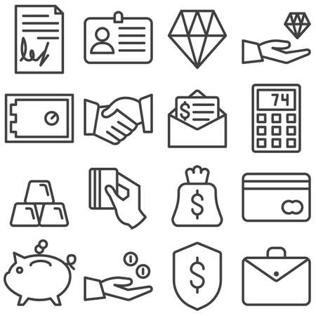 Business and finance line icons set. linear style symbols collection, outline signs pack. vector graphics. Set includes icons as contract document, deal handshake, money bag, bank safe, credit card
