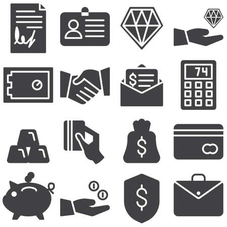 Business and finance vector icons set, modern solid symbol collection, filled style pictogram pack. Signs, logo illustration. Set includes icons as contract document, deal handshake, money bag, credit Ilustrace
