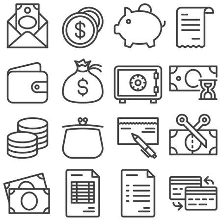 Finance line icons set. linear style symbols collection, outline signs pack. vector graphics. Set includes icons as envelope with money bill, dollar coins, piggy box, wallet, bank safe, purse, cheque