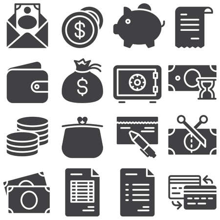Finance vector icons set, modern solid symbol collection, filled style pictogram pack. Signs, logo illustration. Set includes icons as envelope with money, dollar coins, piggy box, wallet, bank safe