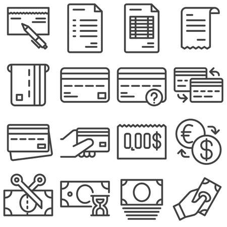 Finance line icons set. linear style symbols collection, outline signs pack. vector graphics. Set includes icons as invoice document, credit card, payment transaction, money exchange, bank cheque