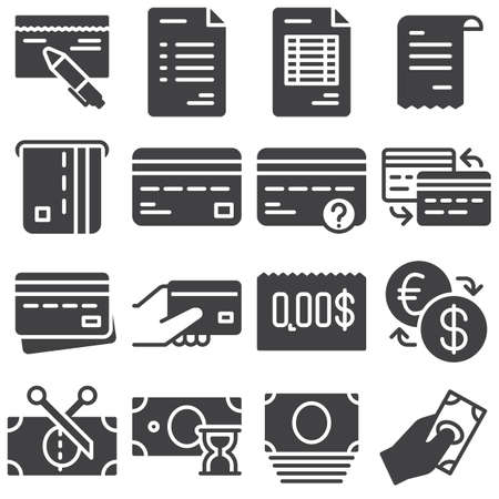 Finance vector icons set, modern solid symbol collection filled style pictogram pack. Signs, logo illustration. Set includes icons as invoice document, credit card, payment transaction, money exchange