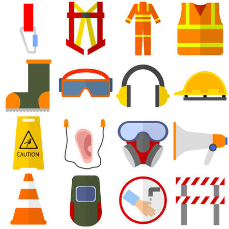 Safety equipment elements collection, flat icons set, Colorful symbols pack contains - life vest, work uniform, helmet, welding mask, earbud, barrier, glasses. Vector illustration. Flat style design
