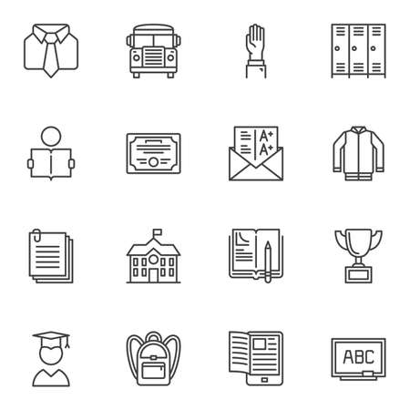 School line icons set. linear style symbols collection, outline signs pack. vector graphics. Set includes icons as uniform, bus, graduate student, blackboard, backpack, school building, locker room
