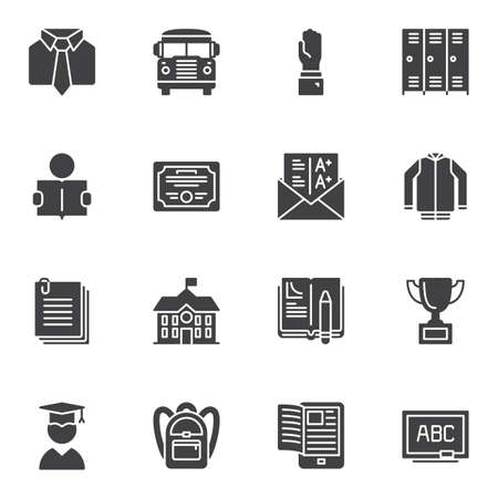 School vector icons set, modern solid symbol collection, filled style pictogram pack. Signs, logo illustration. Set includes icons as bus, graduate student, blackboard, school building, locker room