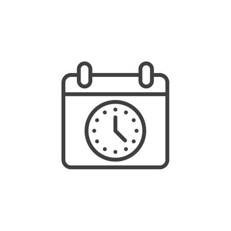 Calendar time line icon. Calendar with Clock linear style sign for mobile concept and web design. Agenda, reminder outline vector icon. Symbol, logo illustration. Vector graphics