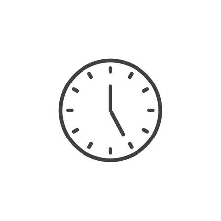 Five oclock line icon. linear style sign for mobile concept and web design. Clock time outline vector icon. Symbol, logo illustration. Vector graphics