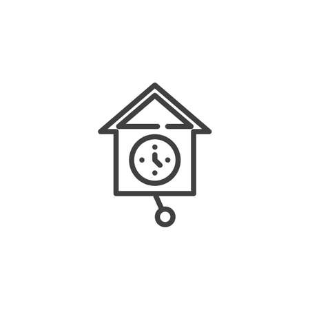Cuckoo Clock line icon. linear style sign for mobile concept and web design. Wall clock cuckoo outline vector icon. Symbol, logo illustration. Vector graphics