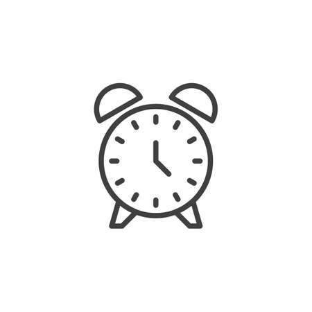Alarm clock line icon. linear style sign for mobile concept and web design. Clock time outline vector icon. Symbol, logo illustration. Vector graphics Illustration