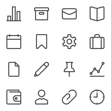 UI UX line icons set. linear style symbols collection, outline signs pack. vector graphics. Set includes icons as calendar, archive folder, portfolio, setting gear, clock time, user, document file