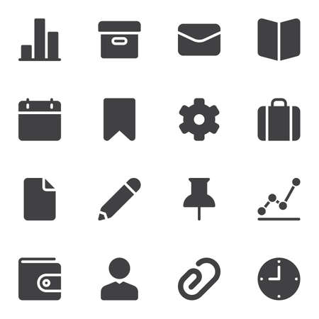 UI UX vector icons set, modern solid symbol collection, filled style pictogram pack. Signs, logo illustration. Set includes icons as calendar, archive folder, portfolio, setting gear, clock time, user