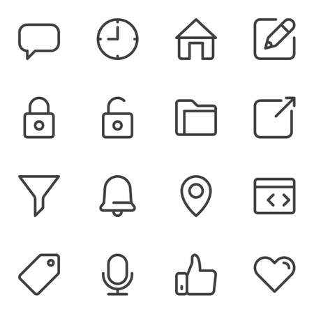 UI line icons set. linear style symbols collection, outline signs pack. vector graphics. Set includes icons as chat message, clock time, home, security lock, document folder, notification bell, like Ilustração