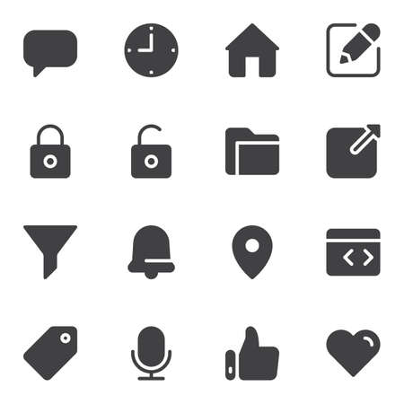 UI vector icons set, modern solid symbol collection, filled style pictogram pack. Signs, logo illustration. Set includes icons as chat message, clock time, home, security lock, document folder, like