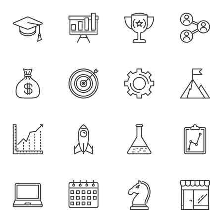 Startup line icons set. linear style symbols collection, outline signs pack. vector graphics. Set includes icons as presentation board, money bag, business graph, calendar, chess strategy, laptop