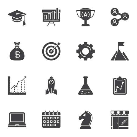 Startup vector icons set, modern solid symbol collection, filled style pictogram pack. Signs, logo illustration. Set includes icons as presentation board, money bag, business graph, calendar, strategy 일러스트