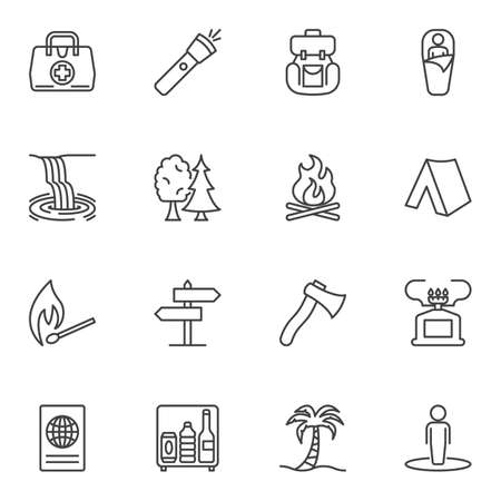 Hiking travel line icons set. linear style symbols collection, outline signs pack. vector graphics. Set includes icons as flashlight, sleeping bag, camping tent, bonfire flame, portable gas burner