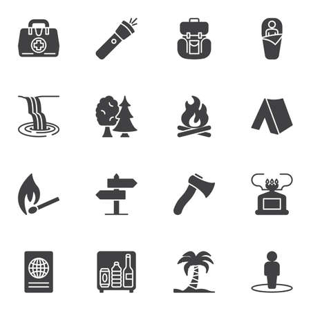 Hiking travel vector icons set, modern solid symbol collection, filled style pictogram pack. Signs, logo illustration. Set includes icons as flashlight, sleeping bag, camping tent, bonfire flame Çizim
