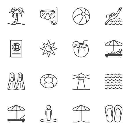 Travel line icons set. linear style symbols collection, outline signs pack. vector graphics. Set includes icons as island palm tree, diving mask, parasol, coconut cocktail, passport document, lounger Ilustracja
