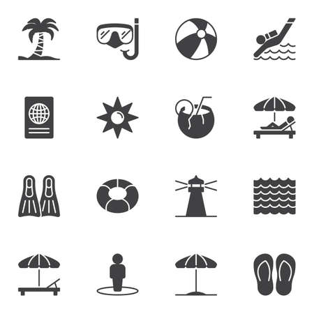 Travel vector icons set, modern solid symbol collection, filled style pictogram pack. Signs, logo illustration. Set includes icons as island palm tree, diving mask, parasol, coconut cocktail, passport