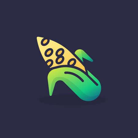 Corn cob flat icon, vector sign, colorful pictogram. Symbol, logo illustration. Flat style design Stock Illustratie