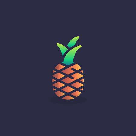 Pineapple fruit flat icon, vector sign, colorful pictogram. Symbol, logo illustration. Flat style design