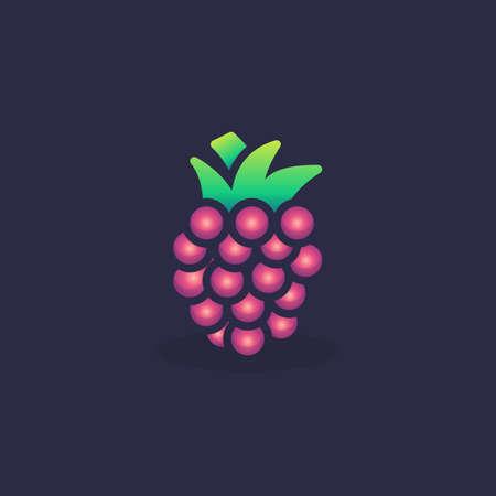 Raspberry flat icon, vector sign, Blackberry colorful pictogram. Symbol, logo illustration. Flat style design 일러스트