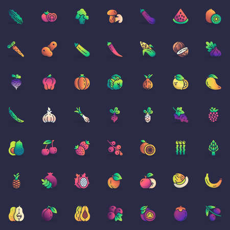 Fruit and vegetable elements collection, flat icons set, Colorful symbols pack contains - apple, tomato, potatoes, paprika, kiwi, avocado, asparagus, onion bulb. Vector illustration. Flat style design