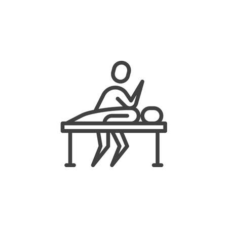 Massage therapy line icon. linear style sign for mobile concept and web design. Masseur massages patient back outline vector icon. Symbol, logo illustration. Vector graphics Illustration