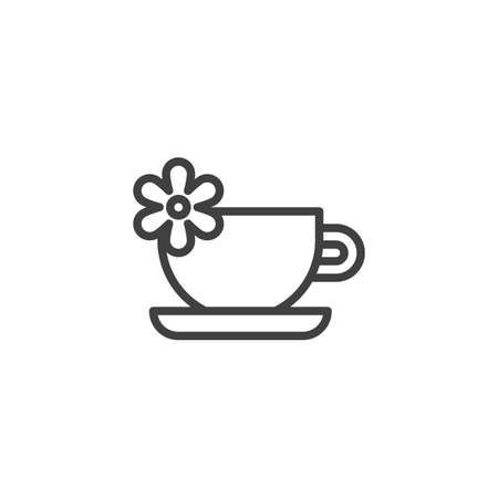 Aroma tea cup with flower line icon. linear style sign for mobile concept and web design. Aromatherapy and spa therapy outline vector icon. Symbol, logo illustration. Vector graphics