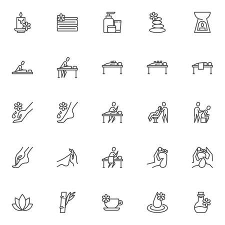 Massage therapy line icons set. Spa salon linear style symbols collection, outline signs pack. vector graphics. Set includes icons as aroma oil bottle, zen stones, lotus flower, aromatherapy, candle