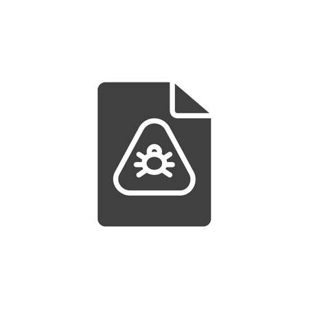 Infected file vector icon. filled flat sign for mobile concept and web design. Virus document file glyph icon. Symbol, logo illustration. Vector graphics Illustration